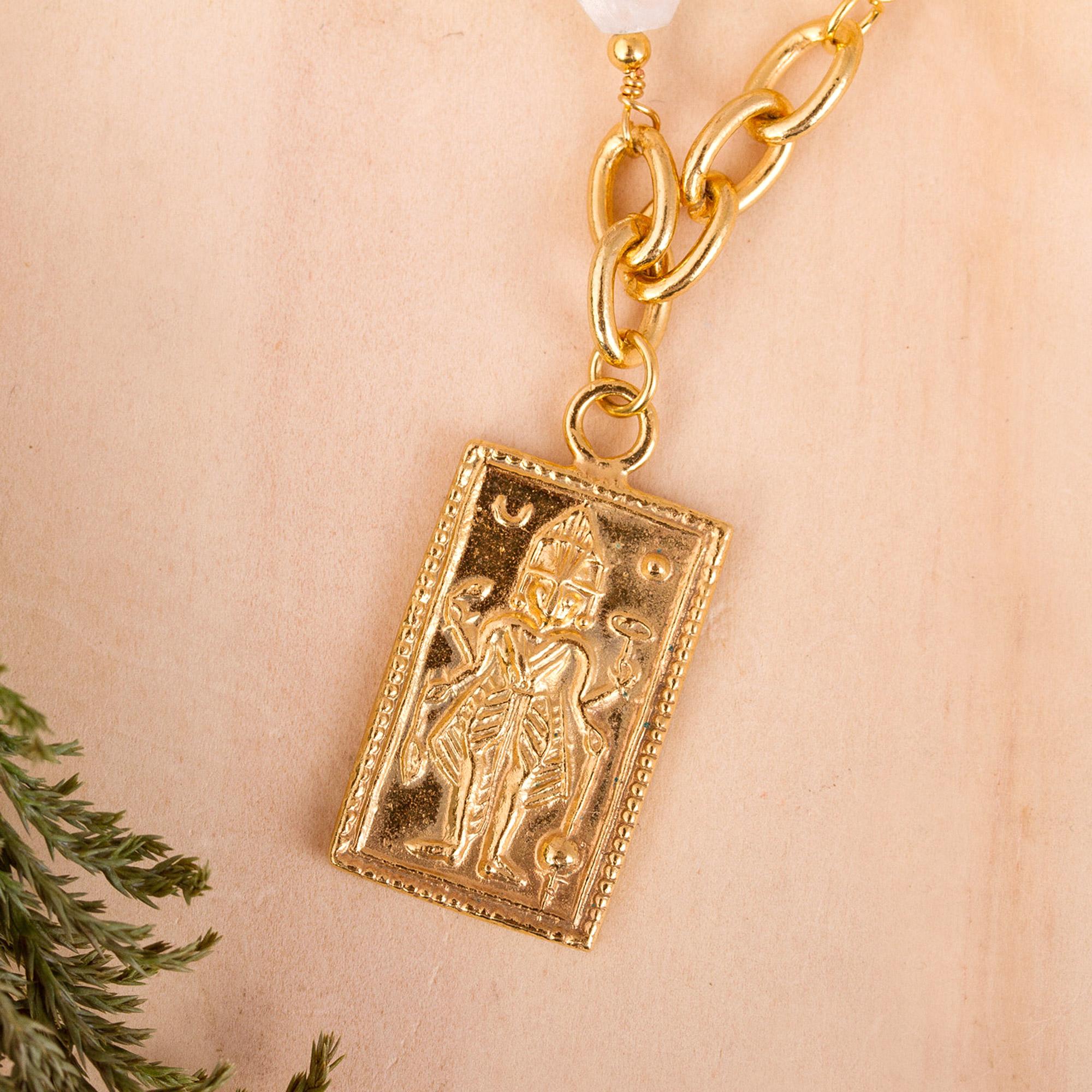18 Length Orange Quartz Gold Filled Stone Pendant Necklace