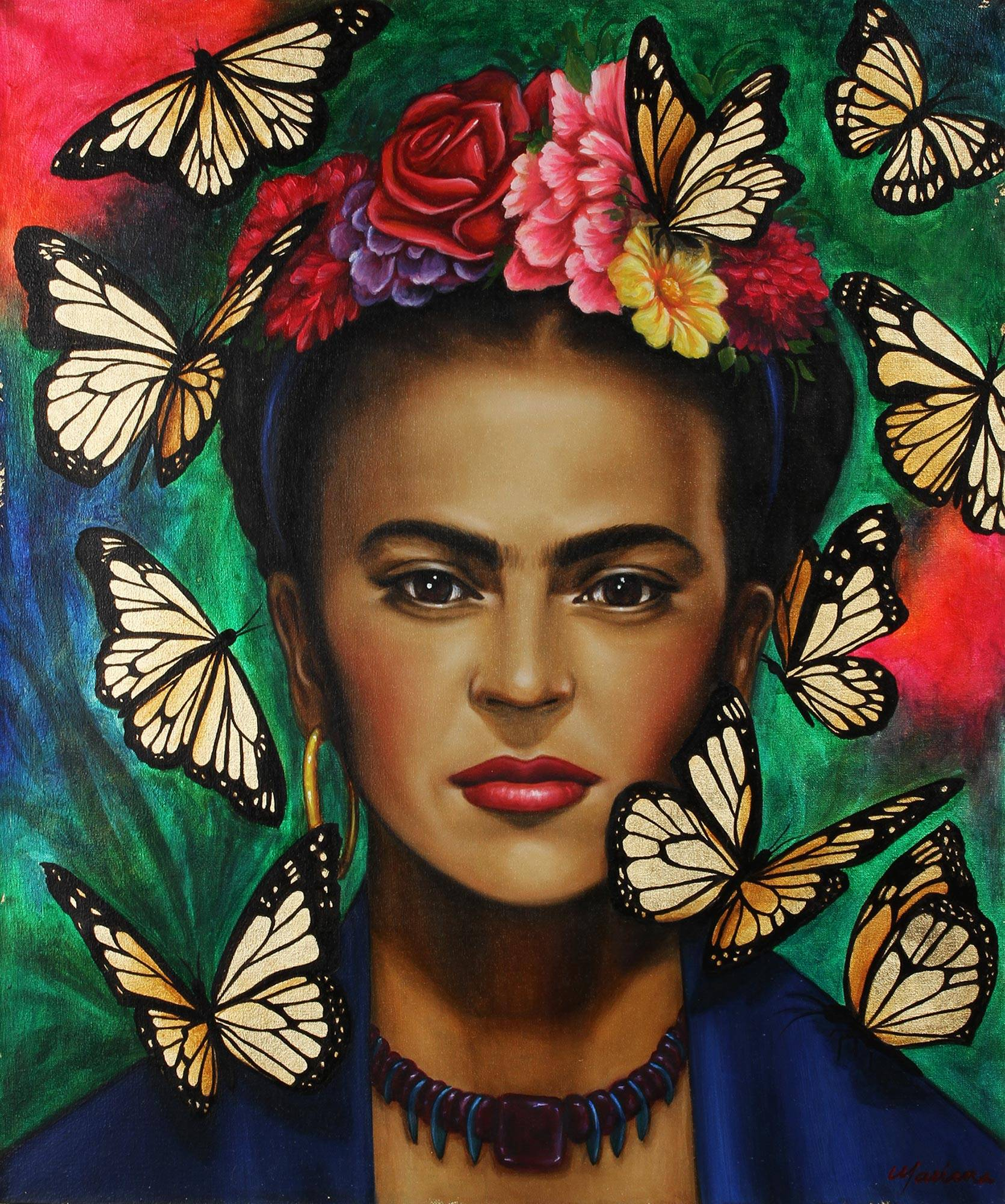 Signed Portrait Painting of Frida Kahlo from Mexico