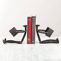 Upcycled metal bookends, 'Joy of Reading' - Handcrafted Upcycled Metal Bookends from Mexico