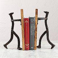 Upcycled metal and wood bookends, 'Book Inspiration' - Handcrafted Upcycled Metal and Pinewood Bookends from Mexico