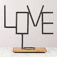 Upcycled iron sculpture, 'Declare Your Love' - Handcrafted Upcycled Iron and Wood Love Message Sculpture