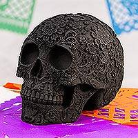 Ceramic figurine, 'Skull Intrigue' - Handcrafted Ceramic Skull Figurine from Mexico