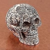 Ceramic figurine, 'Skull Mystery' - Handcrafted Ceramic Skull Figurine from Mexico