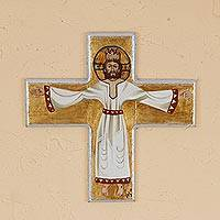 Reclaimed pinewood wall cross, 'Glorious Christ' - Byzantine Style Hand Painted Christ on Reclaimed Wood Cross