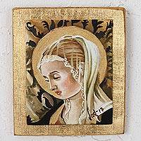 Reclaimed pinewood wall art, 'Virgin of Gold' - Reclaimed Pinewood Virgin Wall Art from Mexico