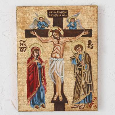 Reclaimed wood wall art, 'Holy Crucifixion' - Reclaimed Pinewood Crucifixion Wall Art from Mexico