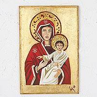 Reclaimed wood wall art, 'Virgin and Son' - Reclaimed Pinewood Wall Art of Virgin and Christ