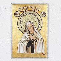 Reclaimed wood wall art, 'Sweet Mary' - Reclaimed Pinewood Wall Art of Virgin Mary