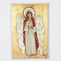 Reclaimed wood wall art, 'Magnificent Angel' - Reclaimed Pinewood Angel Wall Art from Mexico