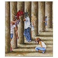 'Hidden' - Signed Surrealist Painting of Children from Mexico