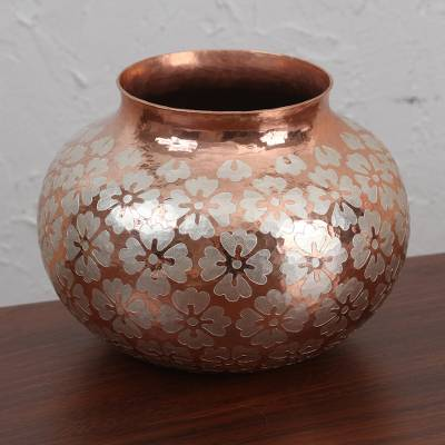 Silver accented copper vase, 'Classic Flowers' - Floral Silver Accented Copper Vase from Mexico