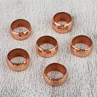 Copper napkin rings, 'Bright Sheen' (set of 6) - Handcrafted Hammered Copper Napkin Rings (Set of 6)