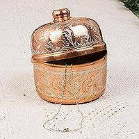 Copper decorative box, 'Glimmering Grace' - Hand Crafted Silver Accent Copper Decorative Box from Mexico