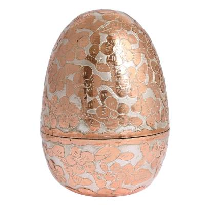 Hand Crafted Silver Accent Copper Decorative Box from Mexico