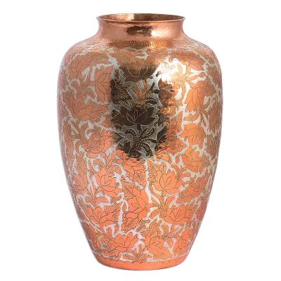 Copper decorative vase, 'Shining Glory' - Handcrafted Floral Copper and Silver Vase from Mexico