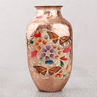 Copper vase, 'Butterfly Dance' - Handcrafted Copper and Gold Leaf Vase from Mexico