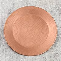 Copper decorative plate, 'Shining Splendor' - Handcrafted Hammered Copper Decorative Plate from Mexico