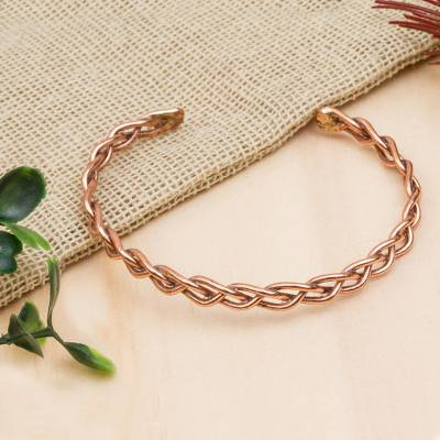 Copper Cuff Bracelet Brilliant Braid Handcrafted Braided From Mexico