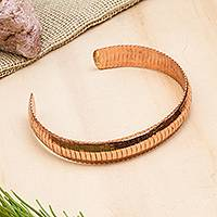 Copper cuff bracelet, 'Brilliant Sheen' - Handcrafted Copper Cuff Bracelet from Mexico
