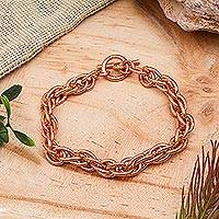 Copper chain bracelet, 'Bright Connection' - Handcrafted Copper Rope Chain Bracelet from Mexico