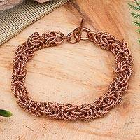 Copper chain bracelet, 'Bright Twist' - Handcrafted Copper Rope Motif Chain Bracelet from Mexico