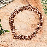 Copper chain bracelet, 'Bright Imagination' - Handcrafted Copper Rolo Chain Bracelet from Mexico