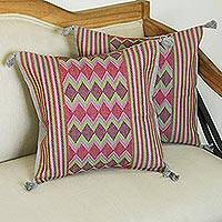 Cotton cushion covers, 'Rhombus Dance' (pair) - Colorful Geometric Cotton Cushion Covers from Mexico (Pair)