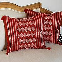 Cotton cushion covers, 'Geometry Patterns' (pair) - Cotton Cushion Covers with Geometric Motifs (Pair)