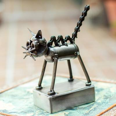 Upcycled metal auto part sculpture, 'Pretty Feline' - Upcycled Metal Auto Part Cat Sculpture from Mexico