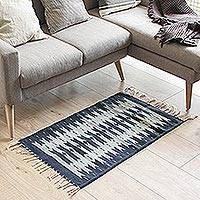 Wool area rug, 'Universal Connection' (2x3) - Geometric Wool Area Rug in Blue from Mexico (2x3)