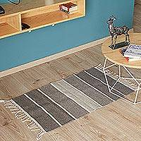 Wool area rug, 'Marble and Ash' (2x3) - Striped Wool Area Rug in Greys from Mexico (2x3)
