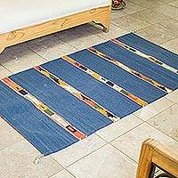 Wool area rug, 'Tulum City' (2.5x4.5) - Geometric Wool Area Rug in Azure from Mexico (2.5x4.5)