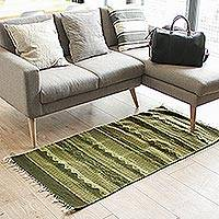 Wool area rug, 'South American Greenery' (2.5x5) - Geometric Wool Area Rug in Green from Mexico (2.5x5)