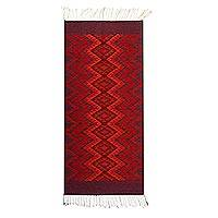 Wool area rug, 'Red Dimension' (2.5x5) - Geometric Wool Area Rug in Red from Mexico (2.5x5)