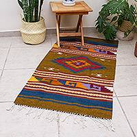 Wool area rug, 'Autumn Geometry' (2.5x4.5) - Geometric Wool Area Rug from Mexico (2.5x4.5)