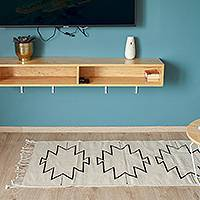 Wool area rug, 'Obsidian Geometry' (2.5x5) - Geometric Wool Area Rug in Ivory from Mexico (2.5x5)