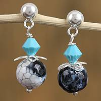 Agate and Swarovski crystal dangle earrings, 'Ethereal Enigma' - Agate and Swarovski Crystal Dangle Earrings from Mexico