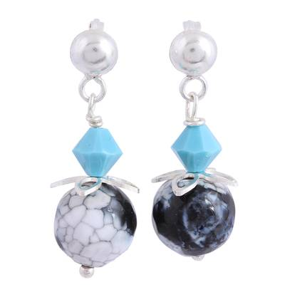 Agate and Swarovski Crystal Dangle Earrings from Mexico