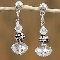 Swarovski crystal dangle earrings, 'Sparkling Fantasy' - Sterling Silver and Swarovski Crystal Dangle Earrings