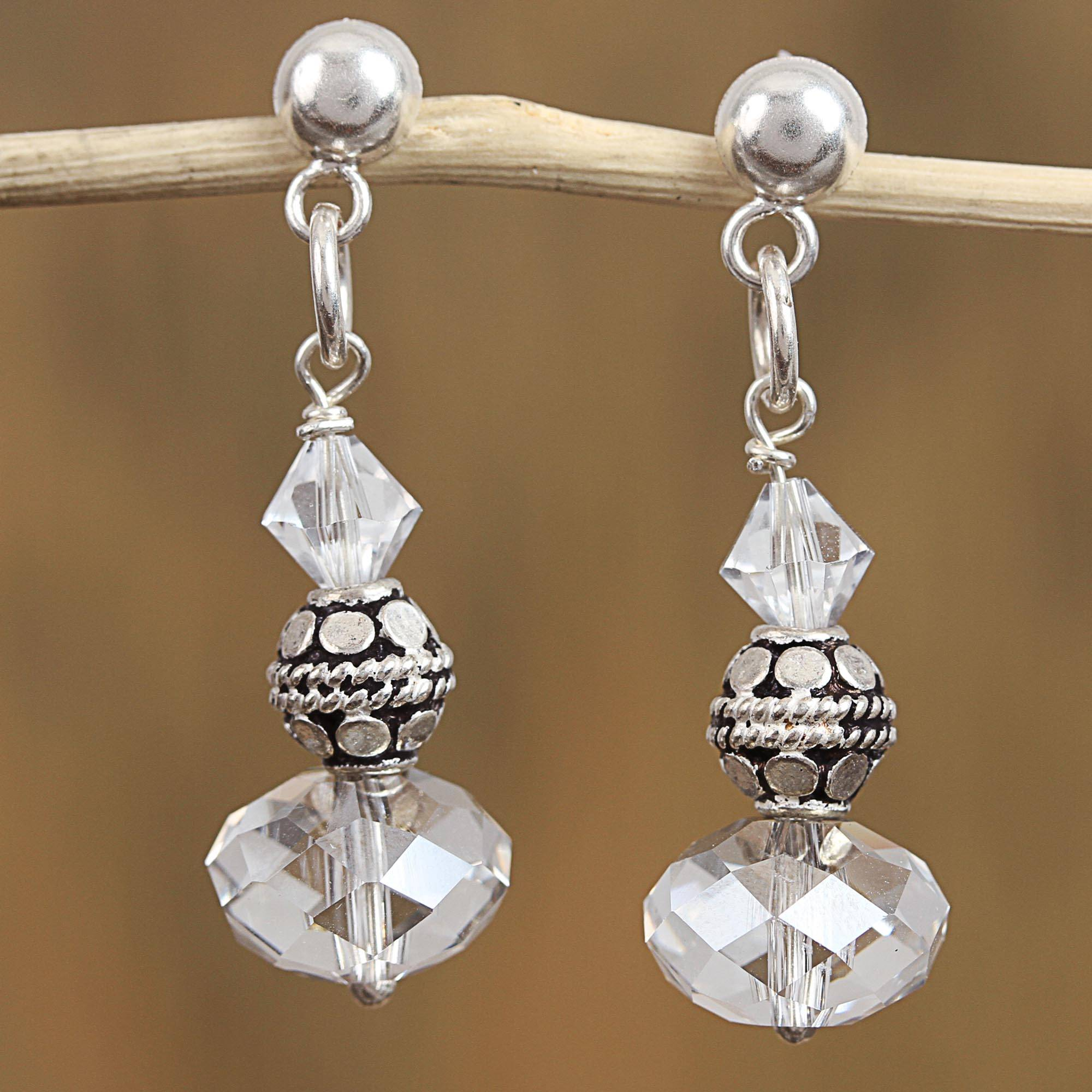 Sterling Silver And Swarovski Crystal Dangle Earrings Sparkling Fantasy