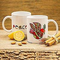 Ceramic mug, 'Red Peace Dove' - Ceramic Mug with a Hand-Painted Red Dove from Mexico