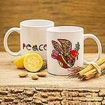 Ceramic Mug with a Hand-Painted Red Dove from Mexico, 'Red Dove'