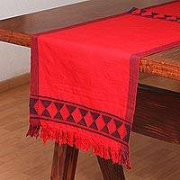 Cotton table runner, 'Festive Geometry in Red' - Geometric Cotton Table Runner in Red from Mexico