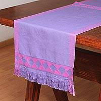 Cotton table runner, 'Festive Geometry in Purple' - Geometric Cotton Table Runner in Purple from Mexico