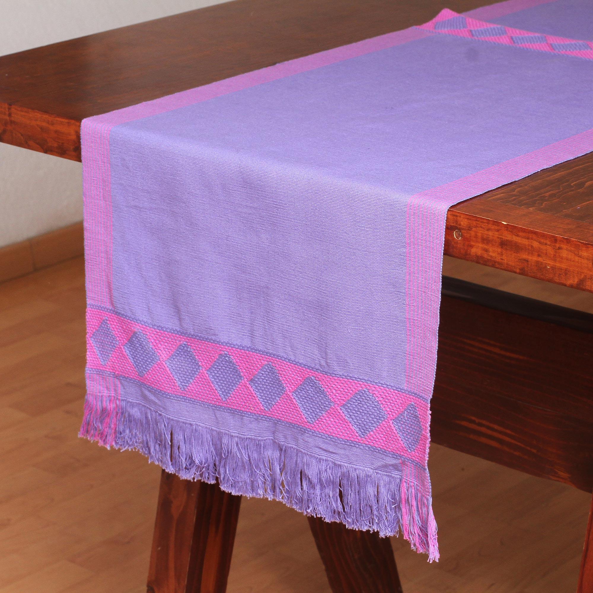 Geometric Cotton Table Runner In Purple From Mexico, U0027Festive Geometry In  Purpleu0027