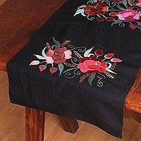Cotton table runner, 'Purple Rose Garden' - Rose Motif Embroidered Cotton Table Runner from Mexico