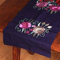 Cotton table runner, 'Sea Rose Garden' - Floral Embroidered Cotton Table Runner from Mexico