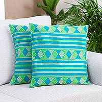 Cotton cushion covers, 'Rhombus Reef' (pair) - Rhombus Cotton Cushion Covers in Blue and Green (Pair)