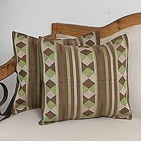 Cotton cushion covers, 'Earthen Rhombus' (pair) - Rhombus Motif Cotton Cushion Covers in Earthtone (Pair)