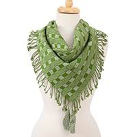 Cotton scarf, 'Mexican Spring' - Cotton Scarf in Spring Green and Eucalyptus from Mexico